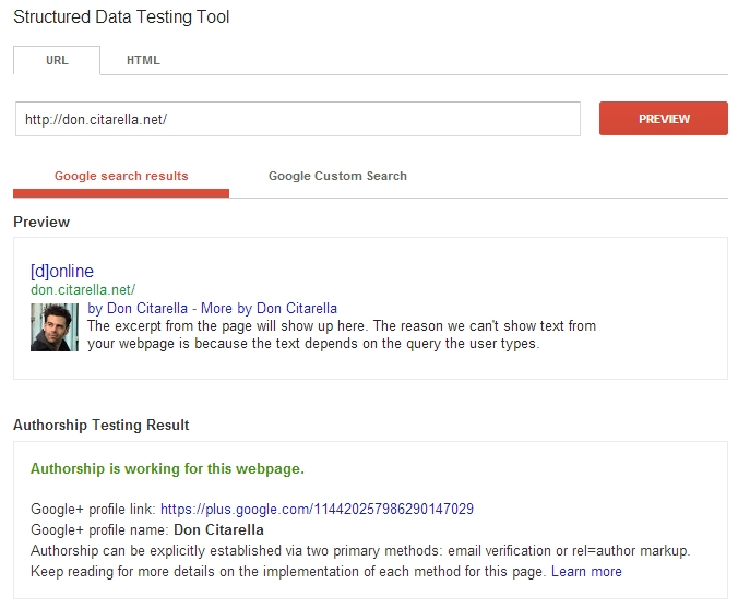 Google Author Tag Example